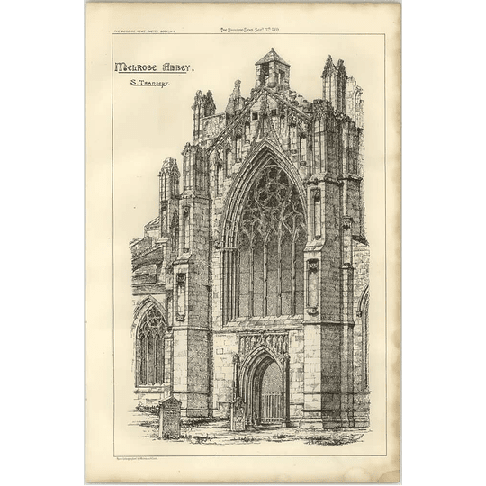 1869 Melrose Abbey, South Transept, Sketch