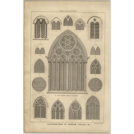 1869 Illustrations Of Window Tracery, East Window Lincoln Cathedral