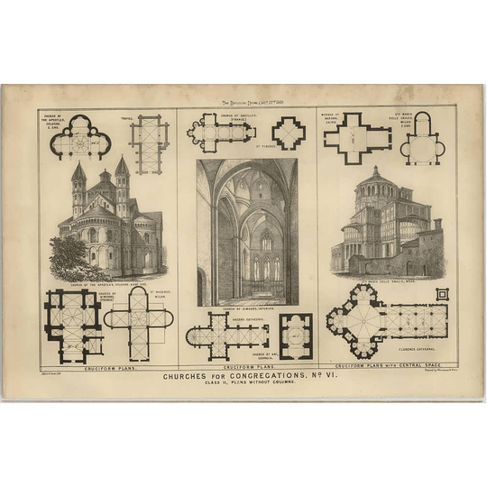 1869 Some Cruciform Plans Of Various Churches