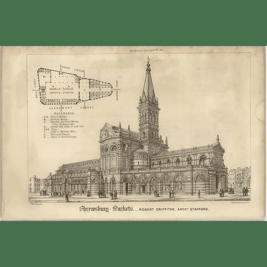 1869 Shrewsbury Markets, Design, Plan, Robert Griffiths Architect