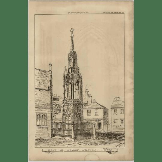 1869 Sketch Of Waltham Cross, Hertfordshire