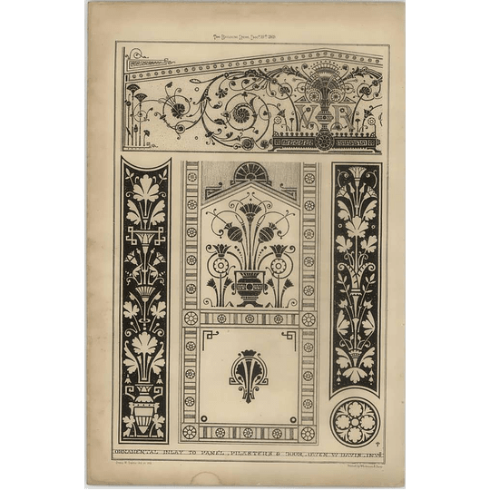 1869 Ornamental Inlay To Panel, Pilasters And Door, Drawn By Owen Davis