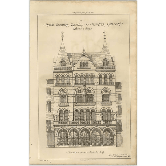 1869 The Royal Denmark Theatre And Winter Garden Leicester Square, Elevation