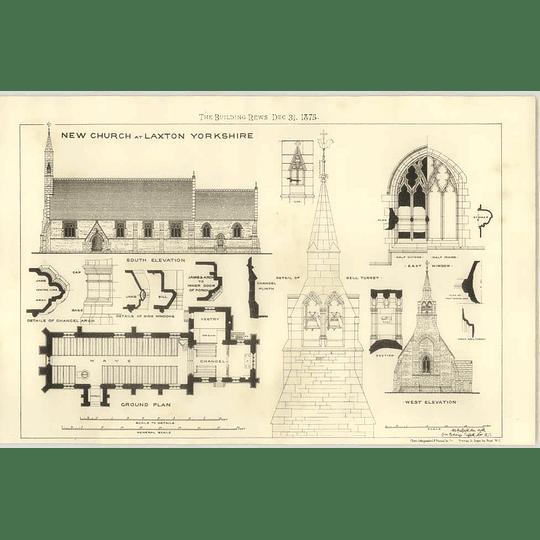 1875 New Church At Laxton, Yorkshire, Plan Elevation