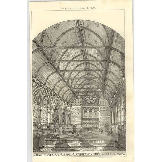 1875 Congregational Chapel, Caterham Surrey Interior, John Sulman