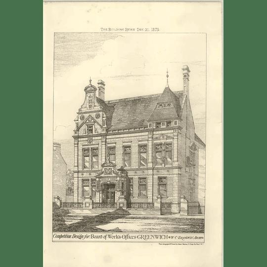 1875 Design Board Of Works Offices Greenwich Wc Brangwyn Architect