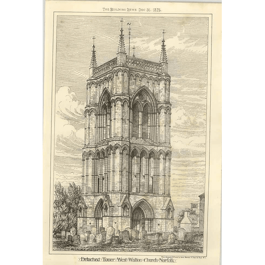 1875 Detached Tower, West Walton Church, Norfolk