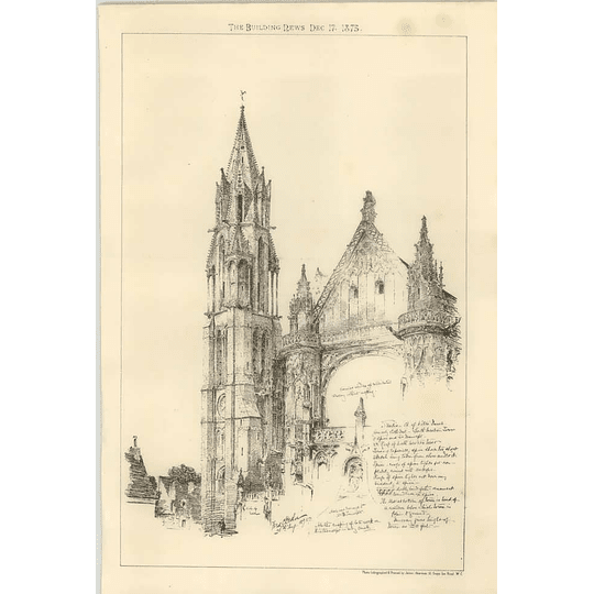 1875 Studies Of The Notre Dame Cathedral Sketches
