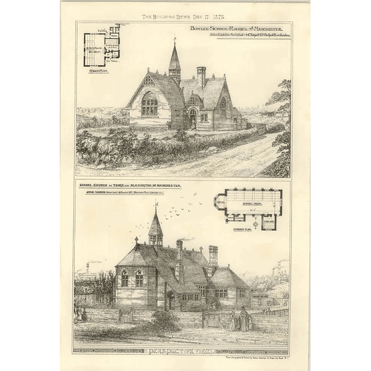 1875 Bowlee School Rhodes Manchester School Church At Tonge Alkrington