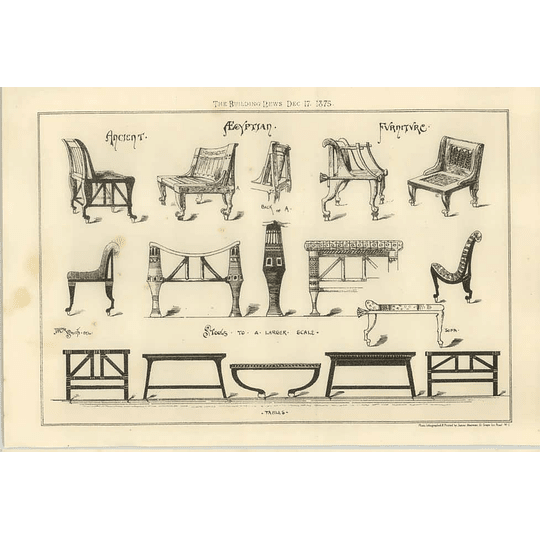 1875 Ancient Stools And Chairs, Egyptian Drawings