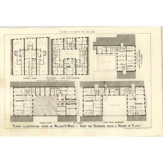 1875 Plans Illustrating Paper By William White How Paris Builds Flats