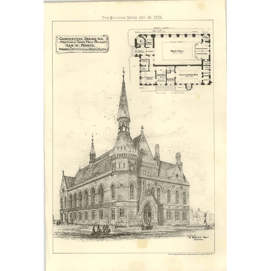1875 Design For Proposed Town Hall Paisley Edwards Smith Hills, Plan