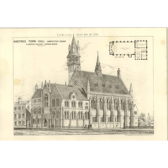 1875 Hastings Town Hall, Competitive Design Colpoys, Baker