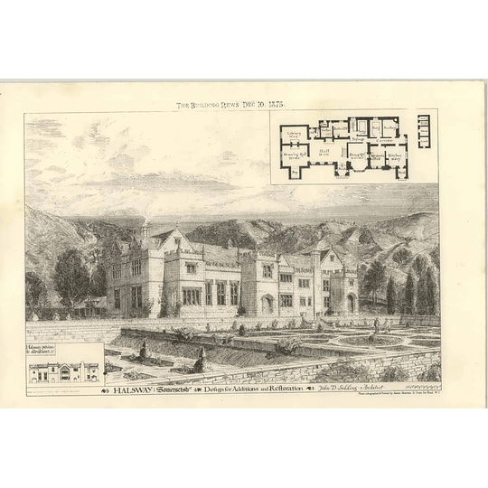 1875 Halsway, Somerset Shire, Design For Additions And Restoration