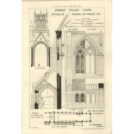 1875 Ardingly College Chapel, Details Of Windows Buttresses