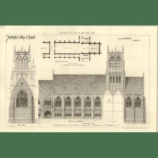 1875 Ardingly College Chapel, Plans, Elevations R H Carpenter