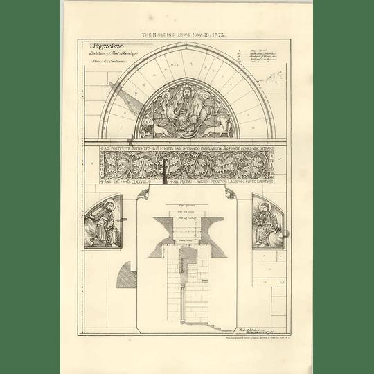 1875 Maguelone Elevation Of Doorway, Plan