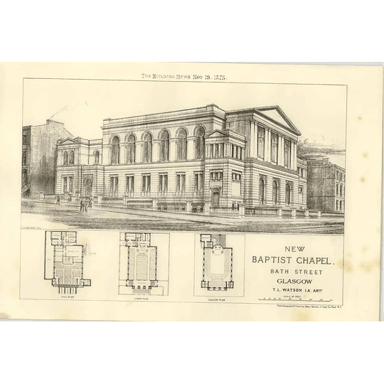 1875 New Baptist Chapel, Bath Street Glasgow Design, Plan