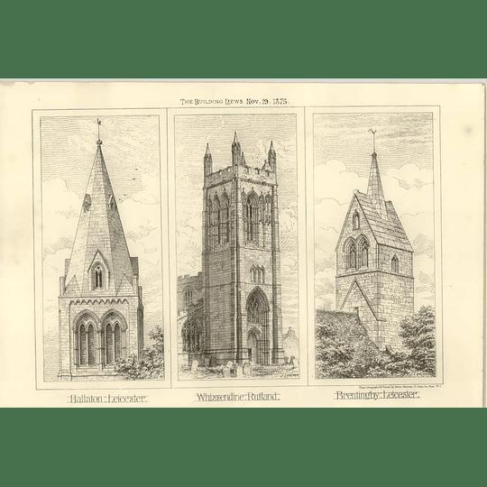 1875 Church Spires Hallaton Brentingby, Whissendine