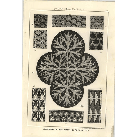 1875 Some Tessellation Floral Design Fe Hulme