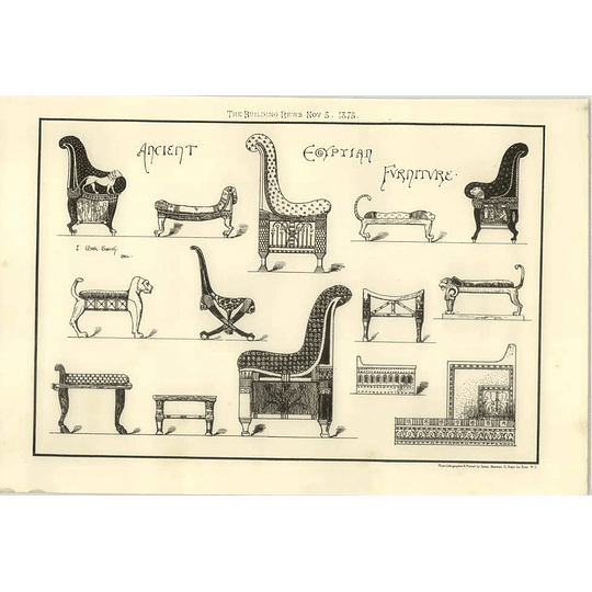 1875 Ancient Egyptian Furniture Drawings Animal Inspiration
