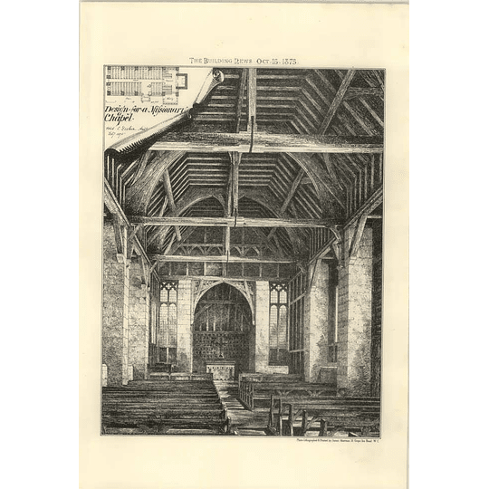 1875 Design For A Missionary Chapel, Unknown Architect