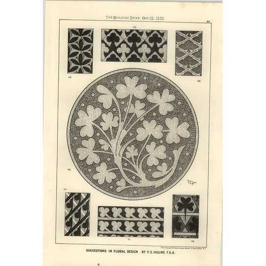 1875 Clover Inspired Floral Design F E Hulme
