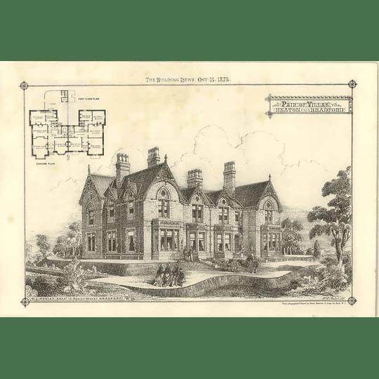 1875 Pair Of Villas At Heaton Near Bradford, Design, Plan