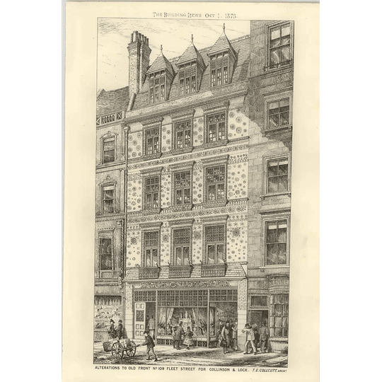 1875 Alterations To Old Front Number 109 Fleet Street For Collinson Lock