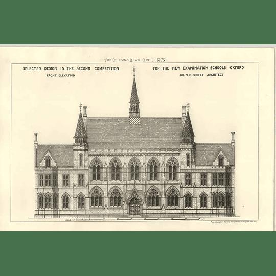 1875 Selected Design For New Examination School Oxford John Scott Architect