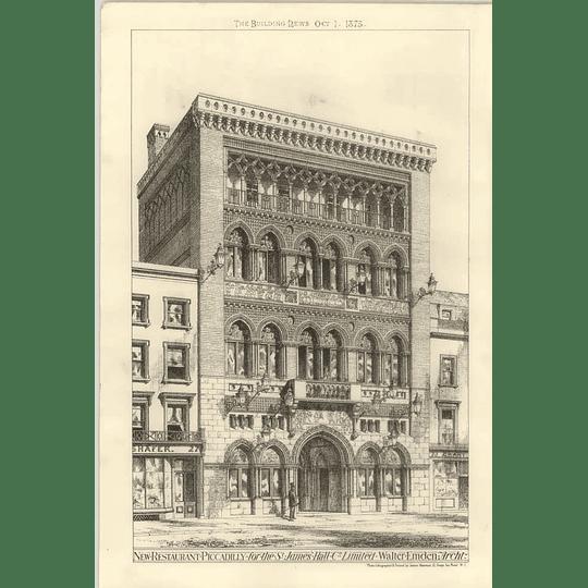 1875 New Restaurant Picadilly For St James's Hall Company Walter Emden Architect