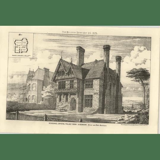1875 Residence At Crystal Palace Park, Sydenham Design, Plan