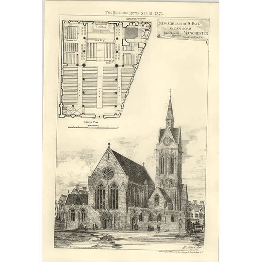 1875 New Church Of St Paul Oldham Road Manchester, Design, Plan House