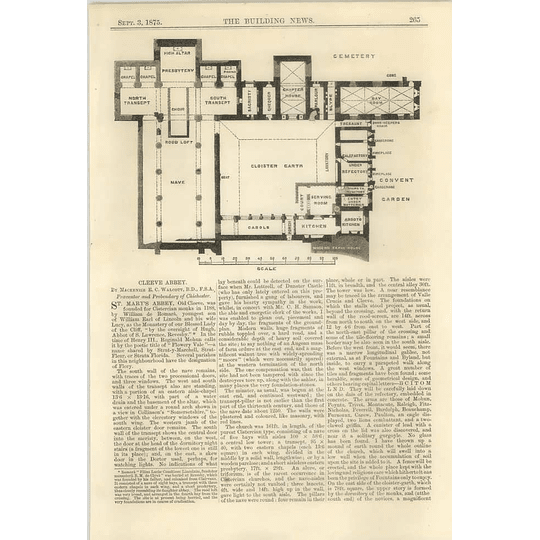 1875 St Mary's Abbey, Old Cleeve, Layout, Plan