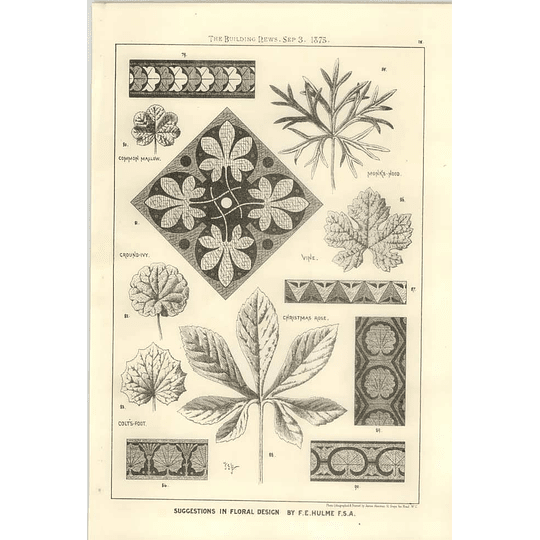 1875 Floral Designs Inspired By Ivy, Vine, Mallow