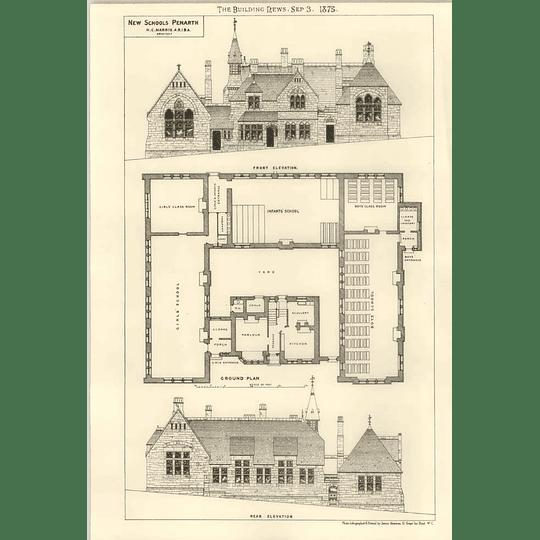 1875 New Schools At Penarth, Elevations, Plan