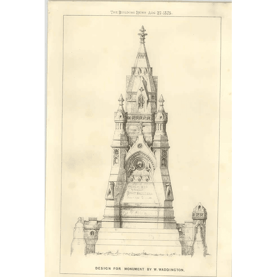 1875 Design For Monument By W Waddington