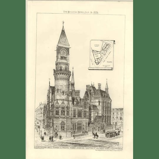 1875 Courthouse Belltown Prison Third District New York Corner View