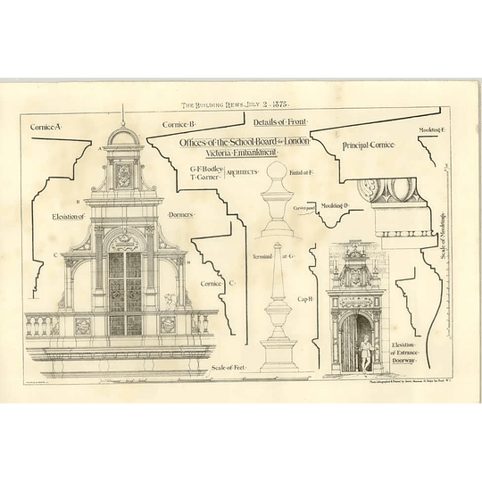 1875 Offices Of The School Board For London, Victoria Embankment, Plans