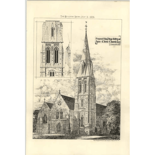 1875 Proposed Ring Stage Belfry And Spire Christ Church Free