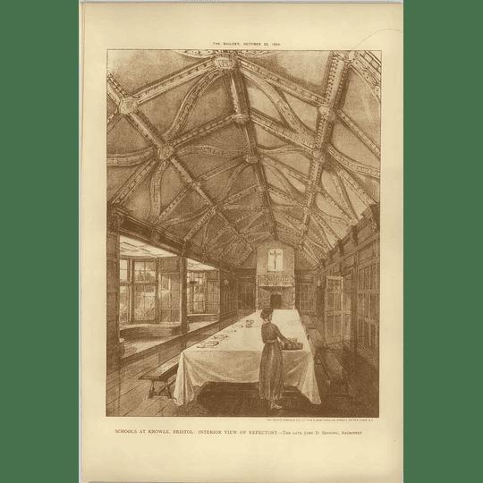 1904 School At Knowle, Bristol, Interior View Refectory