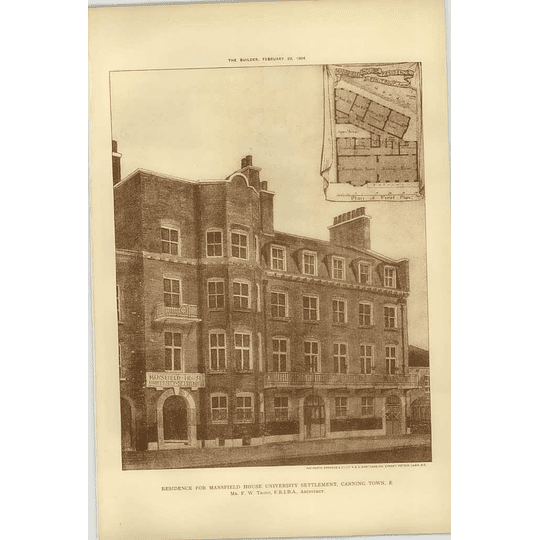 1904 Residence For Mansfield House University Settlement, Canning Town