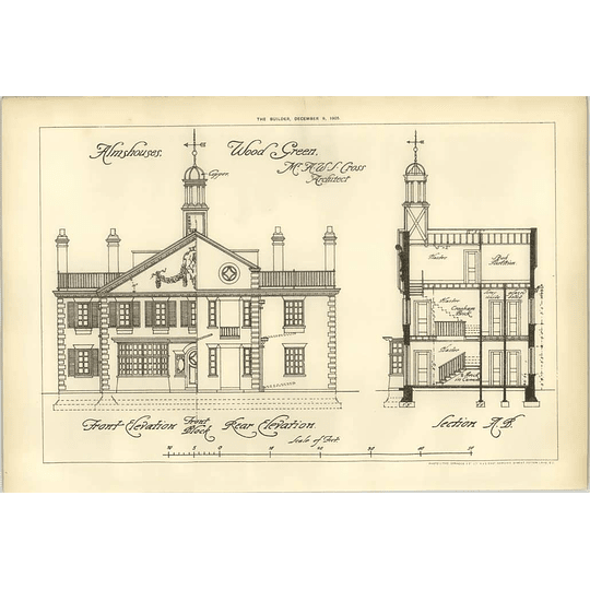 1905 Almshouses At Wood Green, Elevation, Section