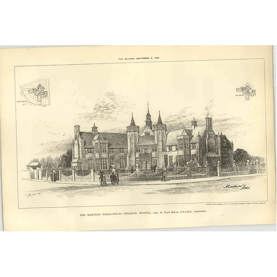 1905 Street View Of The Western Theological College, Bristol