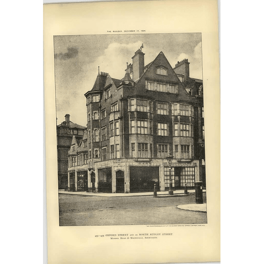 1904 455 Oxford Street 22 N. Audley Street, Union Of London Smiths Bank Premises