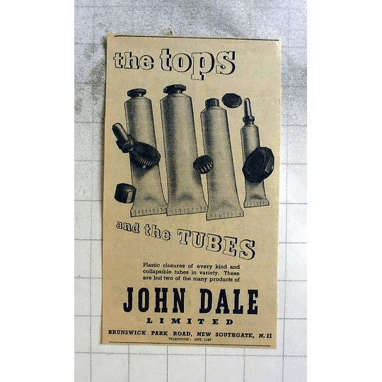 1946 John Dale New Southgate Collapsible Tubes