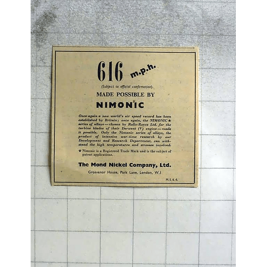 1946 616 Mph Made Possible By The Mond Nickel Company