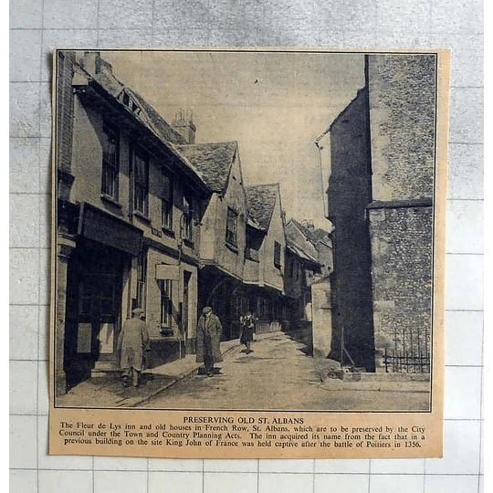 1946 Preserving Old St Albans Fleur De Lys Inn, French Row