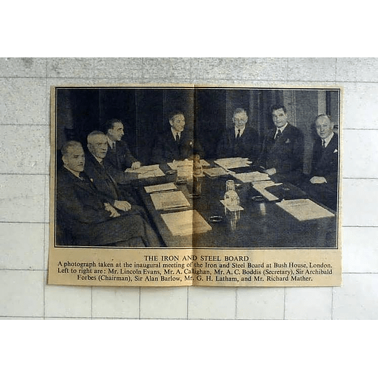 1946 Iron And Steel Board Meeting, Evans, Boddis, Barlow, Latham, Mather