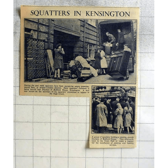 1946 Squatters Moving Into The Duchess Of Bedford's House Kensington